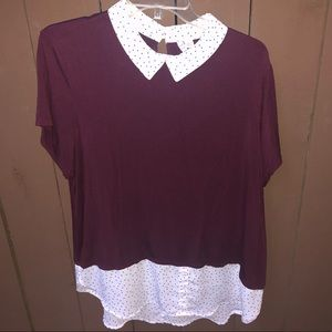 Plum collared twofer blouse with polka dots